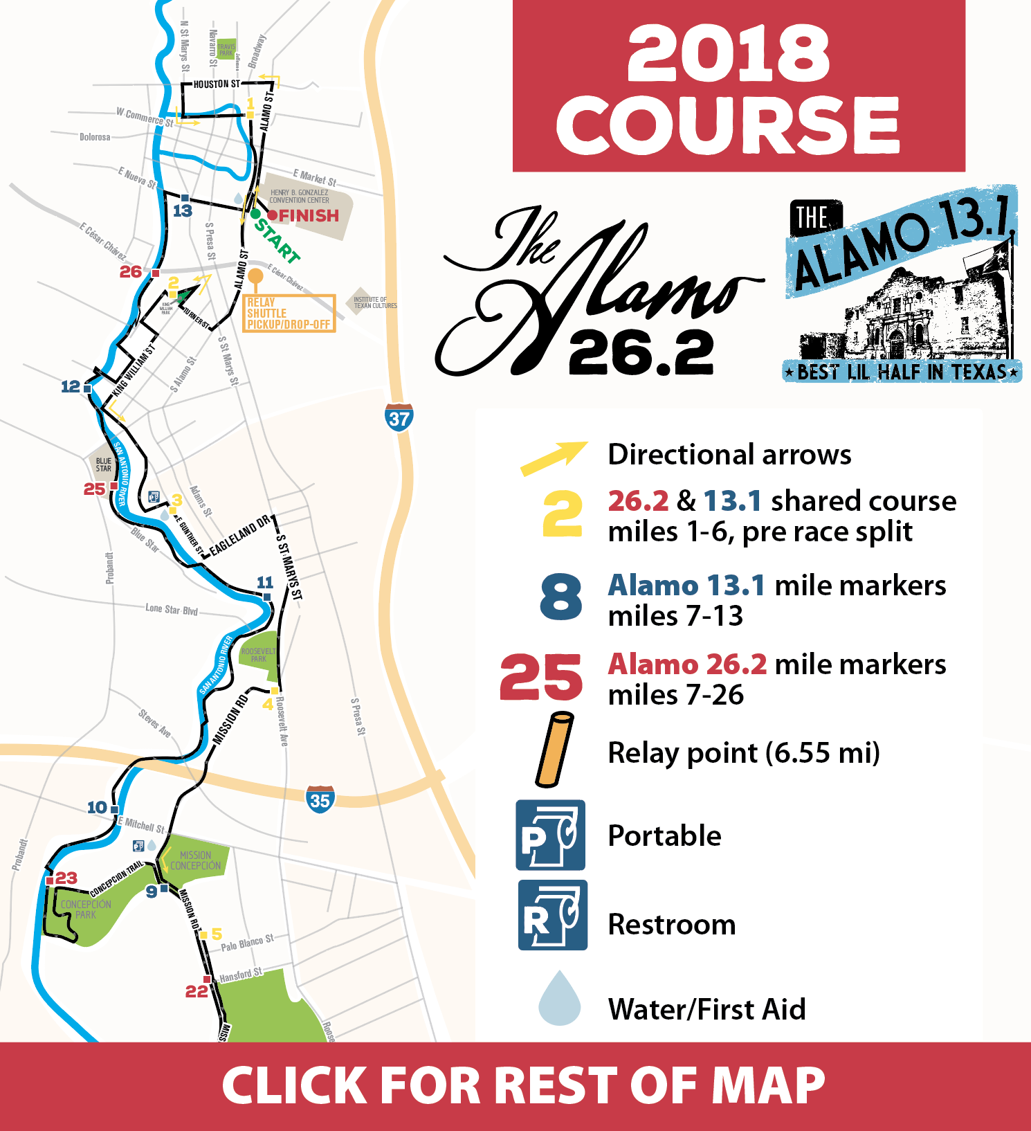 Alamo 13.1 and 26.2 course map