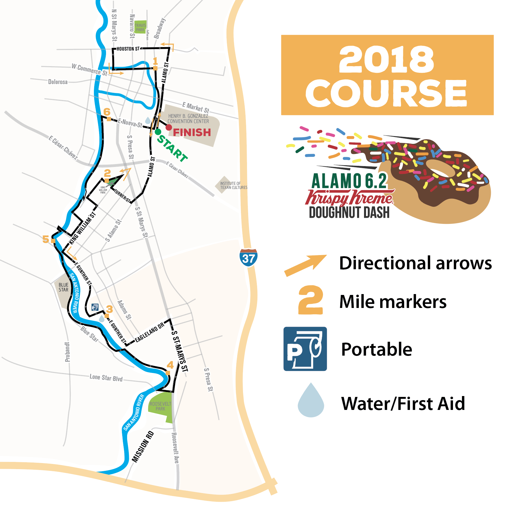 Site Map 2018: Run The Alamo Course Maps